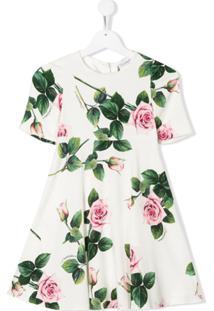 Dolce & Gabbana Kids Vestido Tropical Rose Com Estampa - Branco