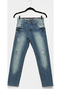 Calça Jeans Infantil Gangster Estonada Puídos Masculina - Masculino-Jeans