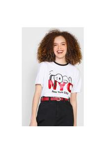 Camiseta Snoopy By Fiveblu Metalizada Branca