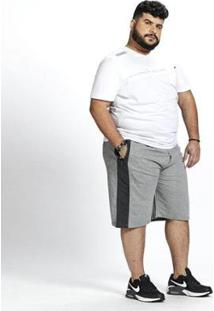 Bermuda Moletom Masculina Plus Size Bolsos - Masculino-Cinza