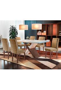 Conjunto De Mesa De Jantar Imperatriz Com 6 Cadeiras Estofadas Grécia Ii Animalle Off White E Chocolate