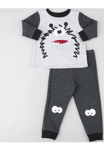 Pijama Infantil Monstrinho Em Moletom Manga Longa Cinza Mescla Claro