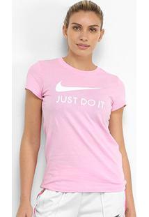 Camiseta Nike Nsw Jdi Slim Feminina - Feminino-Pink+Branco