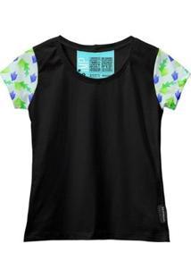 Camiseta Baby Look Feminina Algodão Estampa Folha Macia Moda - Feminino-Preto+Verde Claro