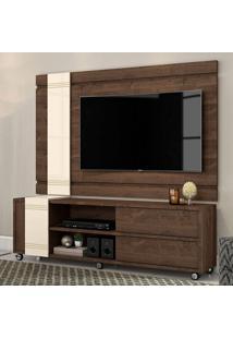 Rack Com Painel Para Tv Até 65 Polegadas Orion Madero E Off White 180 Cm