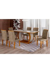 Conjunto De Mesa De Jantar Com Vidro E 6 Cadeiras Maia Iii Suede Animalle Imbuia E Chocolate