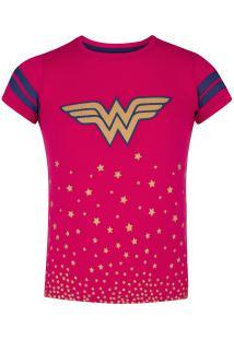 Camiseta Liga Da Justiça Mulher-Maravilha Feminina - Infantil - Rosa/Azul Esc
