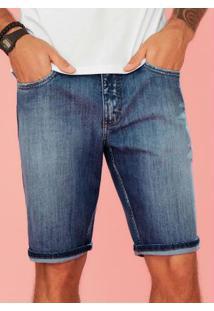 Bermuda Azul Jeans Slim Estonada Enfim
