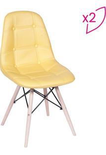 Jogo De Cadeiras Eames Botonãª- Amarelo & Bege- 2Pã§S