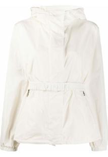 Moncler Jaqueta Branca Com Capuz E Ajuste Por Cordão - Branco