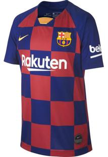Camisa Infantil Nike Barcelona 1 Torcedor 2019/20 Azul/Bordo - P