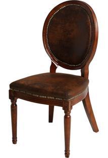 Cadeira Luis Xv De Madeira Sem Braço Assento E Encosto De Couro