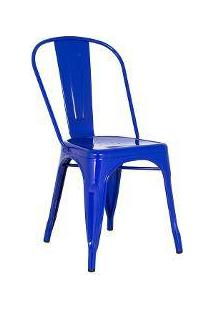 Cadeira Iron Tolix - Industrial - Aço - Vintage - Azul Escuro
