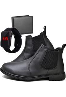 Botina Bota Fashion Com Carteira E Relógio Led Masculino Dubuy 258El Preto - Kanui