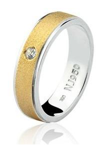 Aliança Mista Ouro 18K E Prata 925 Elegance Natalia Joias Alm-149 - Feminino-Ouro