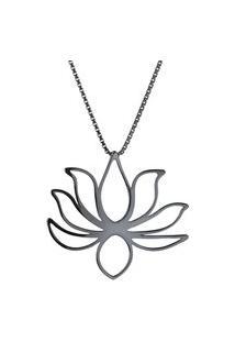 Colar Feminino Pingente Flor De Lotus Em Prata