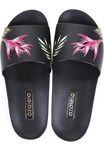 8c792a2a73 Chinelo Azaleia Slide Estampa Tropical Feminino - Feminino-Preto+Pink