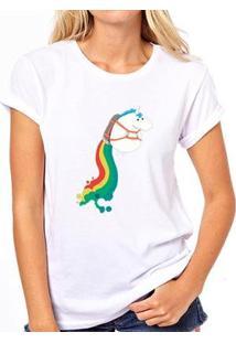 Camiseta Coolest Unicornio Foguete Feminina - Feminino-Branco