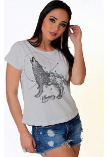 Camiseta Wevans Lobo Geometrico Branco