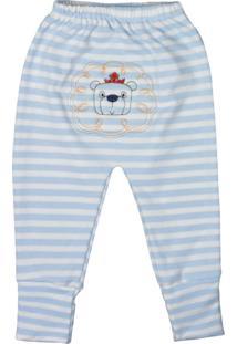 Calça De Bebê Com Pé Reversíve Bordado Listras Azul Claro Azul Claro - Kanui