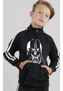 Jaqueta Infantil Darth Vader Esportiva Com Listras Laterais Em Moletom Preta