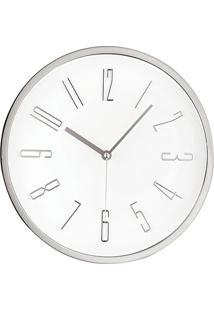 Relógio De Parede Metalizado- Branco & Prateado- Ø30Mart