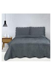 Colcha King Camesa Neo Clássico Velvet Com 2 Porta Travesseiros