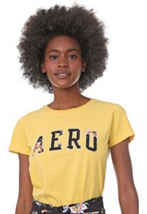 Camiseta Aeropostale Bordada Amarela - Amarelo - Feminino - Algodã£O - Dafiti