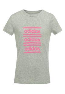 Camiseta Adidas Yg Cf Feminina - Infantil - Cinza Cla/Rosa
