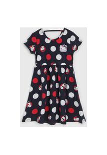 Vestido Kyly Infantil Poá Azul-Marinho/Vermelho