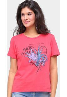 Camiseta Sommer Básica Fab Girls Feminina - Feminino-Vermelho