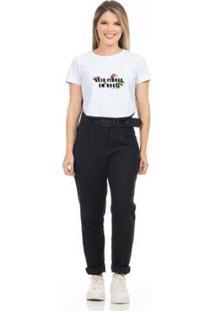 Camiseta Cropped Clara Arruda Viés Estampada 18020024 Feminina - Feminino-Branco