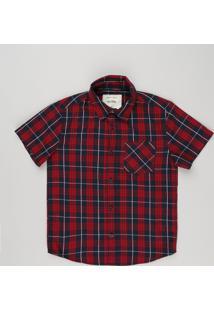 Camisa Infantil Xadrez Manga Curta Com Bolso Vermelha