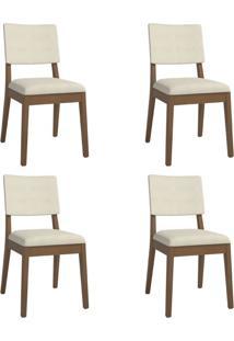 Conjunto Com 4 Cadeiras De Jantar Ella Bege