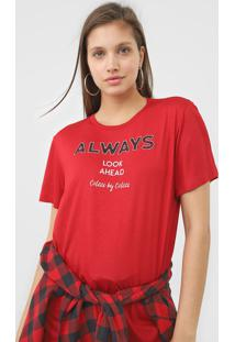 Camiseta Colcci Always Vermelha - Vermelho - Feminino - Viscose - Dafiti