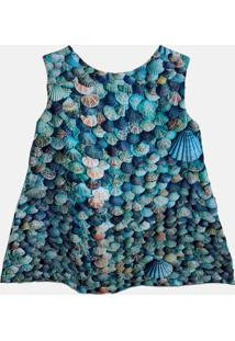 Vestido Infantil Estampado Conchas Azul