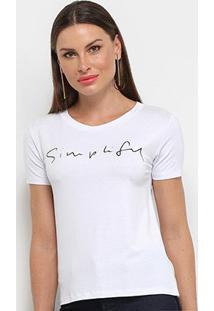 Camiseta Aura Simplify Feminina - Feminino-Off White