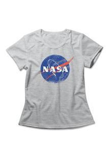 Camiseta Feminina Nasa Cinza