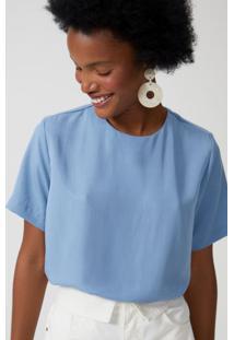 Amaro Feminino T-Shirt Reta Básica, Azul Indigo