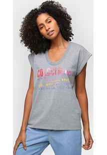Camiseta Colcci Sm Over Feminina - Feminino-Mescla