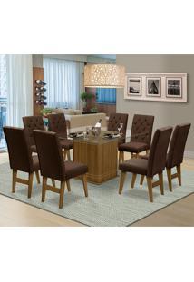 Mesa Para Sala De Jantar Saint Louis Com 8 Cadeiras – Dobuê Movelaria - Mell / Chocolate
