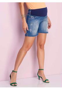 Shorts Jeans Meio Cós Suplex Azul