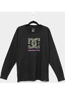 Camiseta Juvenil Dc Shoes Manga Longa Básica Fill Masculina - Masculino-Preto