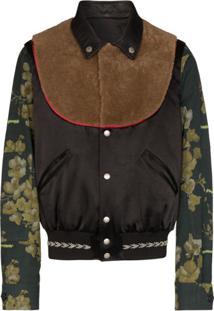 Duran Lantink Floral Sleeve Bomber Jacket - Preto