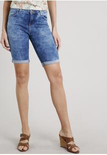 Bermuda Jeans Feminina Ciclista Barra Dobrada Azul Médio