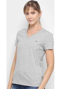 Camiseta Tommy Hifigler Gola V Feminina - Feminino-Cinza