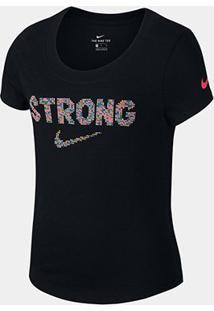 Camiseta Nike Manga Curta Strong Feminina - Feminino-Preto