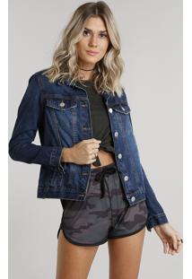 3de3ba13a5 Jaqueta Jeans Feminina Com Ilhoses Manga Longa Azul Médio