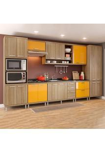 Cozinha Completa Sem Tampo 17 Portas 5832 Argila/Amarelo - Multimóveis