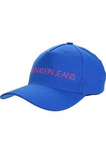 Boné Calvin Klein Aba Curva Logo Básico - Feminino-Azul Navy